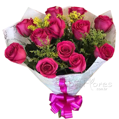 3038 ♥ Lindooo Buquê com 12 Rosas Pink