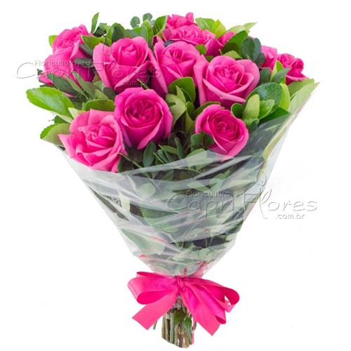 3041 ♥ Buquê com 12 Rosas Pink
