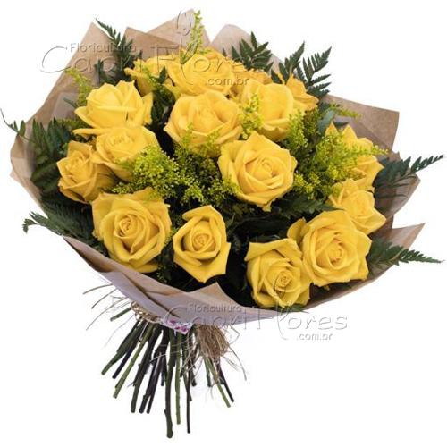 3043 Buquê com 15 Rosas Amarelas