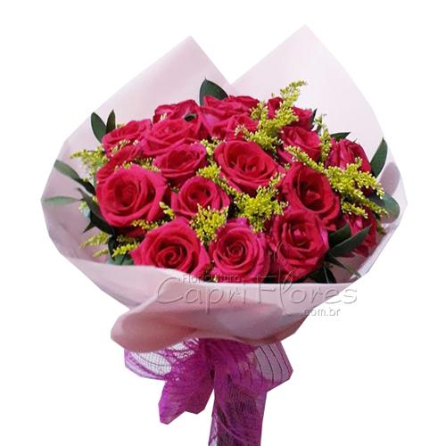 3046 ♥ Buquê com 20 Rosas Pink