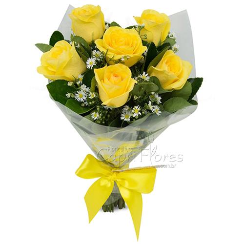 3047 Buquê de Meia Dúzia de Rosas Amarelas