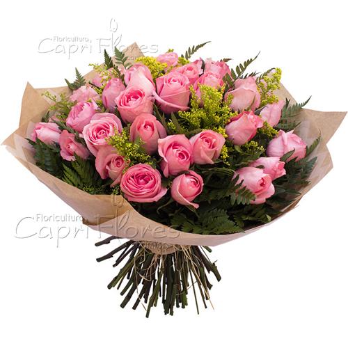 3048 ♥ Buquê com Rosas Cor de Rosa