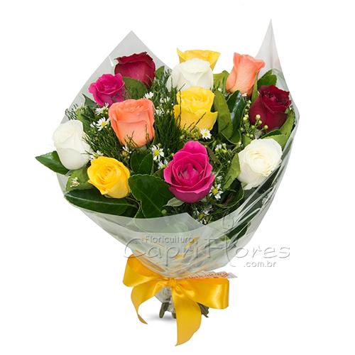 3049 ♥ Buquê com 10 Rosas Coloridas