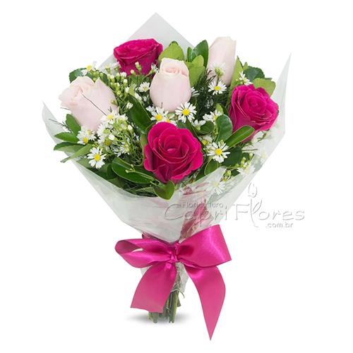 3051 Buquê Meia Dúzia de Rosas Cor de Rosa e pink