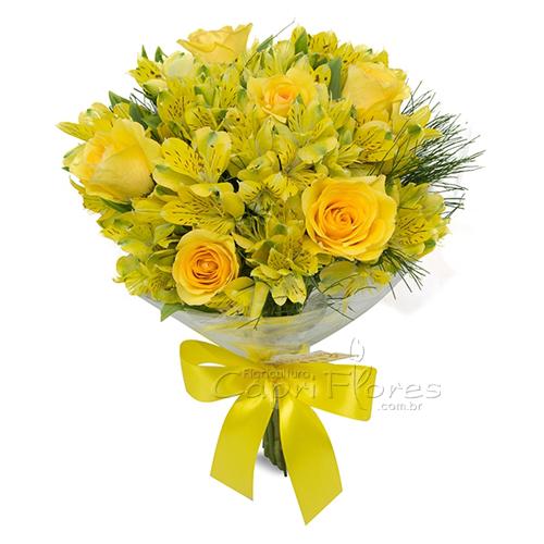 3052 Buquê de Rosas Amarelas e Alstroemérias