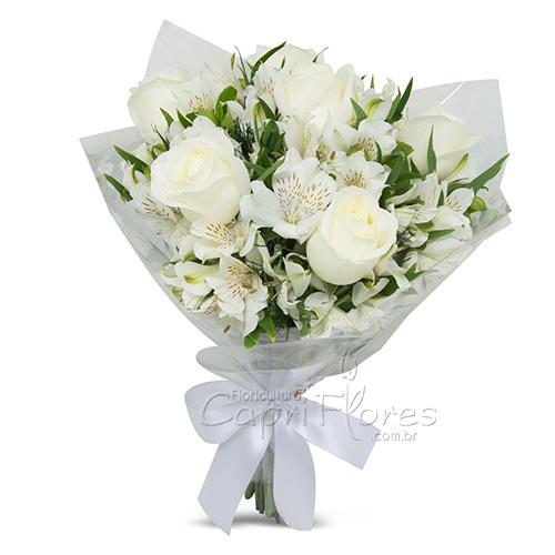 3053 ♥ Buquê de Rosas Brancas e Alstroemérias