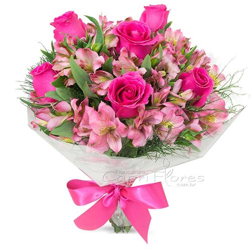 3054 Buquê de Rosas Pink e Alstroemérias