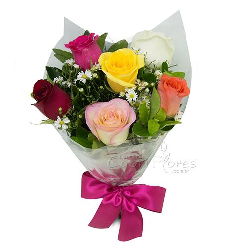 3055 ♥ Buquê de Meia Dúzia de Rosas Coloridas