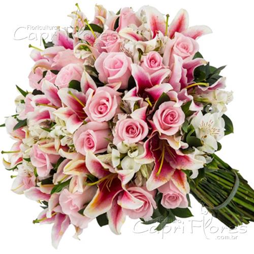 3056 ♥ Buquê Gigante de Rosas Cor de Rosa e Lírios Cor de Rosa