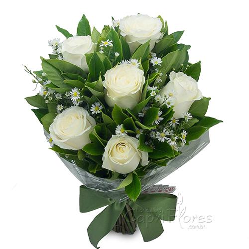 3057 ♥ Buquê com Meia Dúzia de Rosas Brancas
