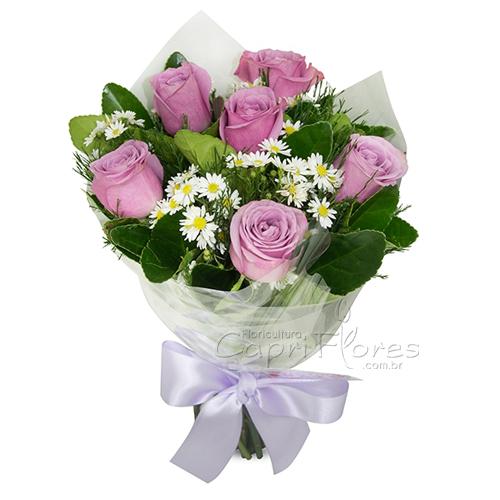 3061 ♥ Buquê Meia Dúzia de Rosas Lilás