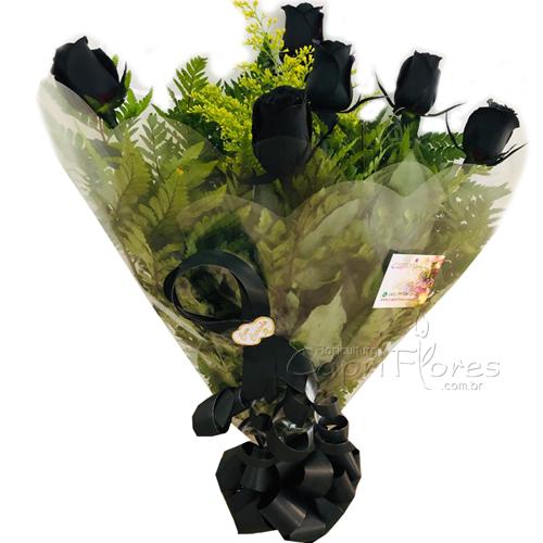 3062 ♥ Buquê Meia Dúzia de Rosas Preta/ Negra