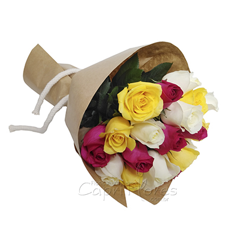 3063 Buquê de Rosas Coloridas Papel Kraft