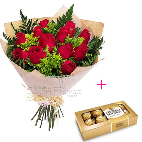 3064 ♥ PROMOÇÃOOO!!   Buquê com 10 Rosas Vermelhas + Ferrero Rocher