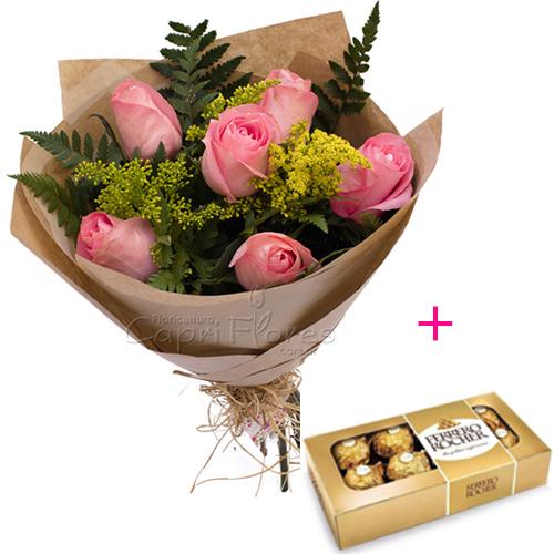 3065 ♥ Buquê Meia Dúzia de Rosa Cor de Rosa + Ferrero Rocher