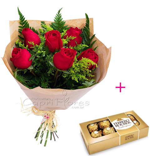 3066 ♥ Buquê com Meia Dúzia de Rosas Vermelhas + Ferrero Rocher