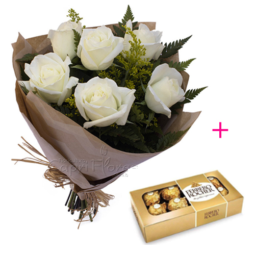 3068 ♥ Buquê com Meia Dúzia de Rosas Brancas + Ferrero Rocher