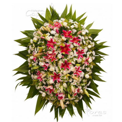 3212 Coroa de Flores Grande com Lírios