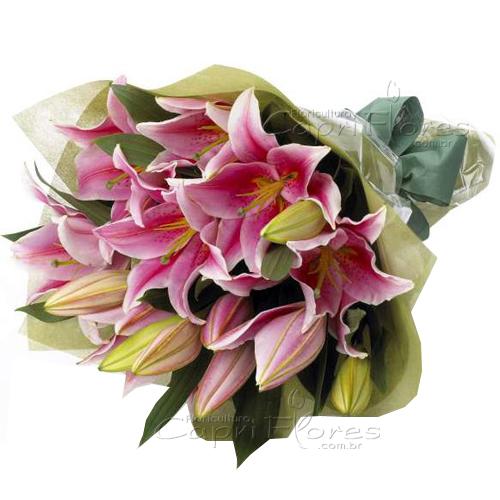 3216 ♥ Lindo Buquê de Lírio Cor de Rosas
