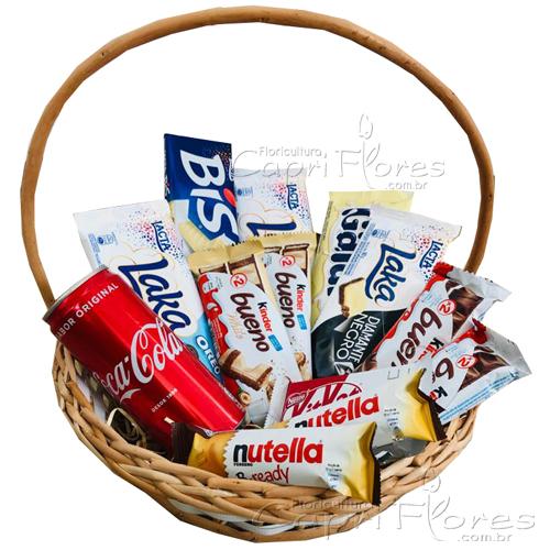 3262 ♥ Cesta com Deliciosos Chocolates