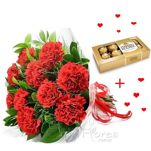 3404 ♥ Buquê com 10 Cravos Vermelhos + Ferrero Rocher