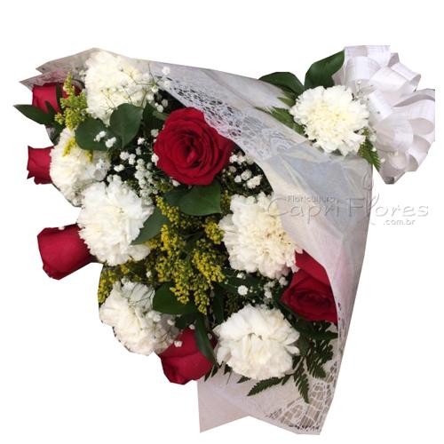 3407 ♥ Buquê de Cravos e Rosas