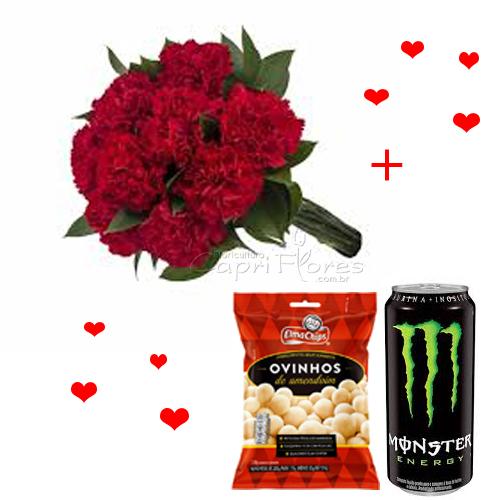 3410 ♥ Buquê de Cravos Vermelhos + Acompanhamentos