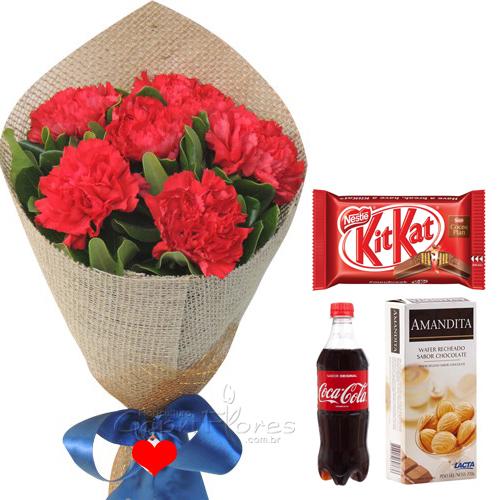 3413 ♥ Buquê Meia Duzia de Cravo + KitKat + amandita + Coca - cola