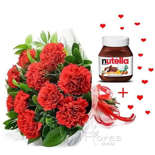 3416 ♥ Buquê com 10 Cravos Vermelhos + Nutella