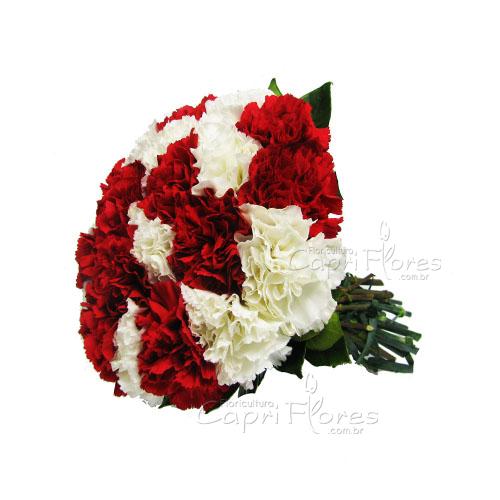3421 ♥ Buquê de Cravo Branco e Vermelho