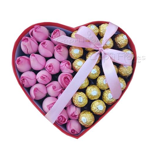 3431 ♥ Box Coração um Mimo com Rosas ♥