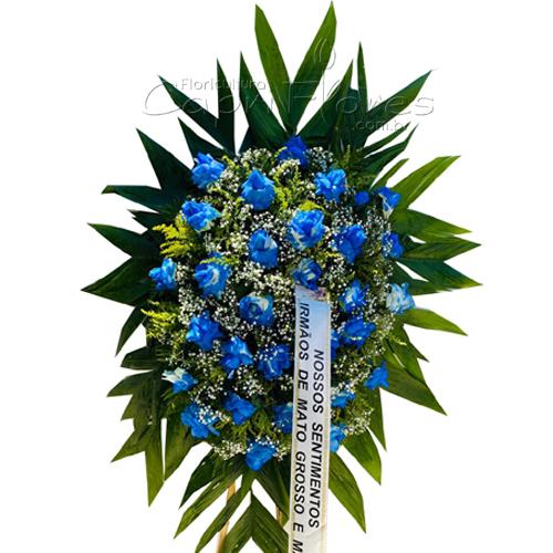 4261 Coroa de Rosas Dobradas Azuis