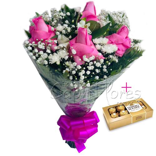 4569 ♥ Buquê de Rosas Dobradas Cor de Rosa + Ferrero  ♥♥♥ PROMOÇÃOOO!!