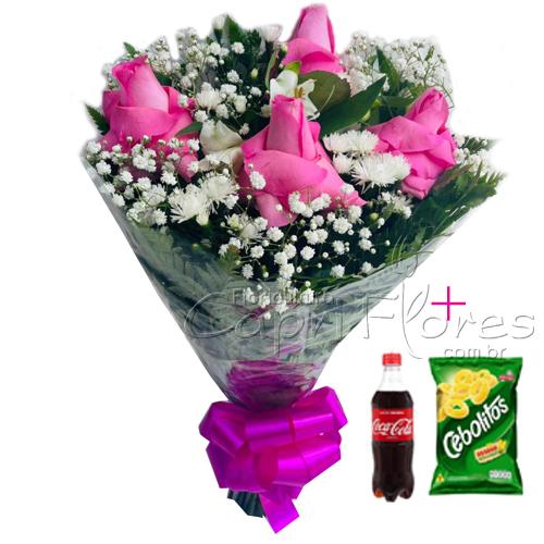 4570 ♥ Buquê de Rosas Dobradas + Lanchinho da Tarde