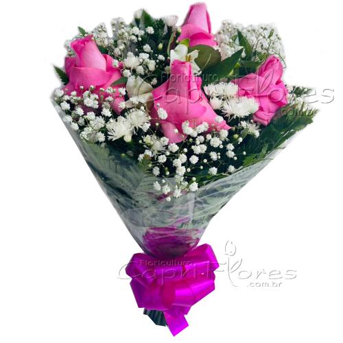 4571 ♥ Buquê com 4 Rosas Cor de Rosa I