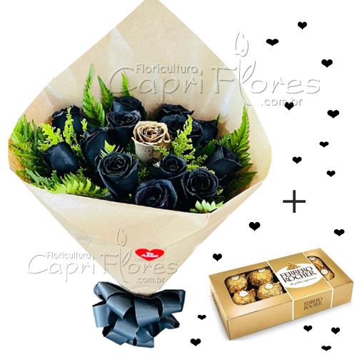 4573 ♥ Buquê com Rosas Negras e 1 Dourada + Ferrero