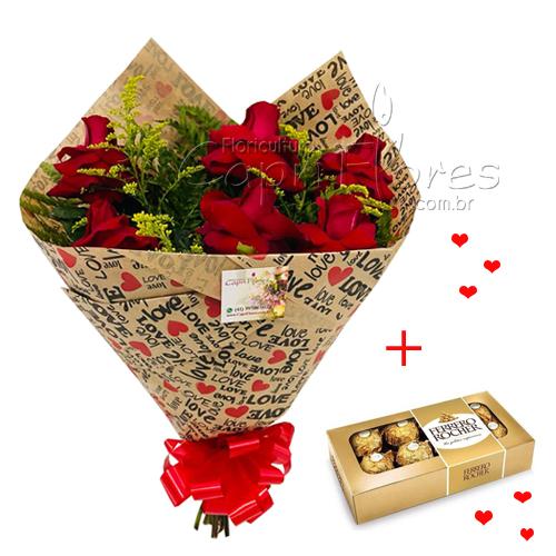 4610 ♥ Buquê Luxo de Rosas Dobradas + Ferrero Rocher