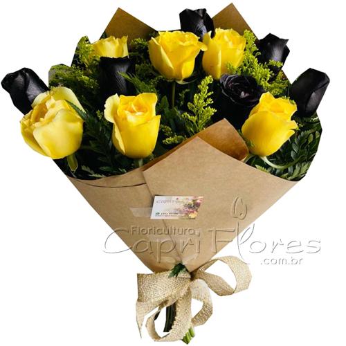 4818 Buquê Rosas Amrelas e Rosas Pretas/Negras