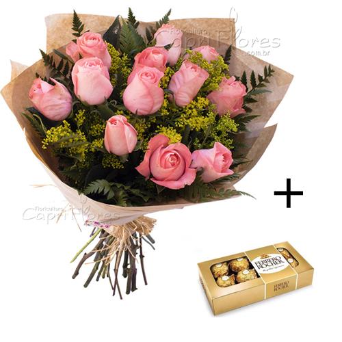 4980 ♥ PROMOÇÃOOO!! Buquê com 10 Rosas Cor de Rosa + Ferrero Rocher