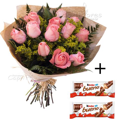 4981 ♥ PROMOÇÃOOO!! Buquê com 10 Rosas Cor de Rosa + 2 Kinder Bueno
