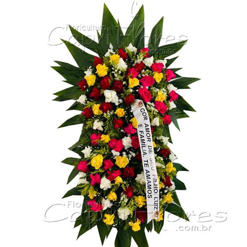 5245 Coroa de 2 Buquês com Rosas Coloridas