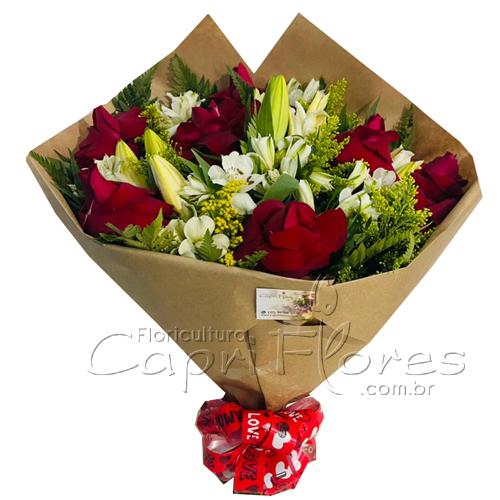 5283 Buquê de Rosas Lírios e Altroemérias