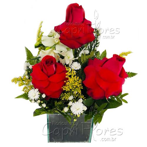 5457 ♥ Arranjo de Rosas Dobradas - Com Amor