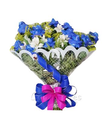 844 ♥ Buquê com Rosas Azul Dobrada